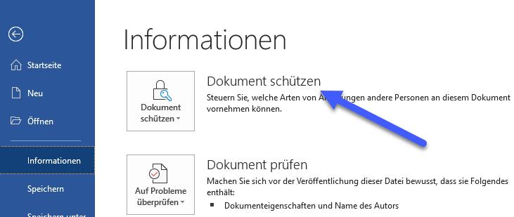 Word Datei mit Passwort