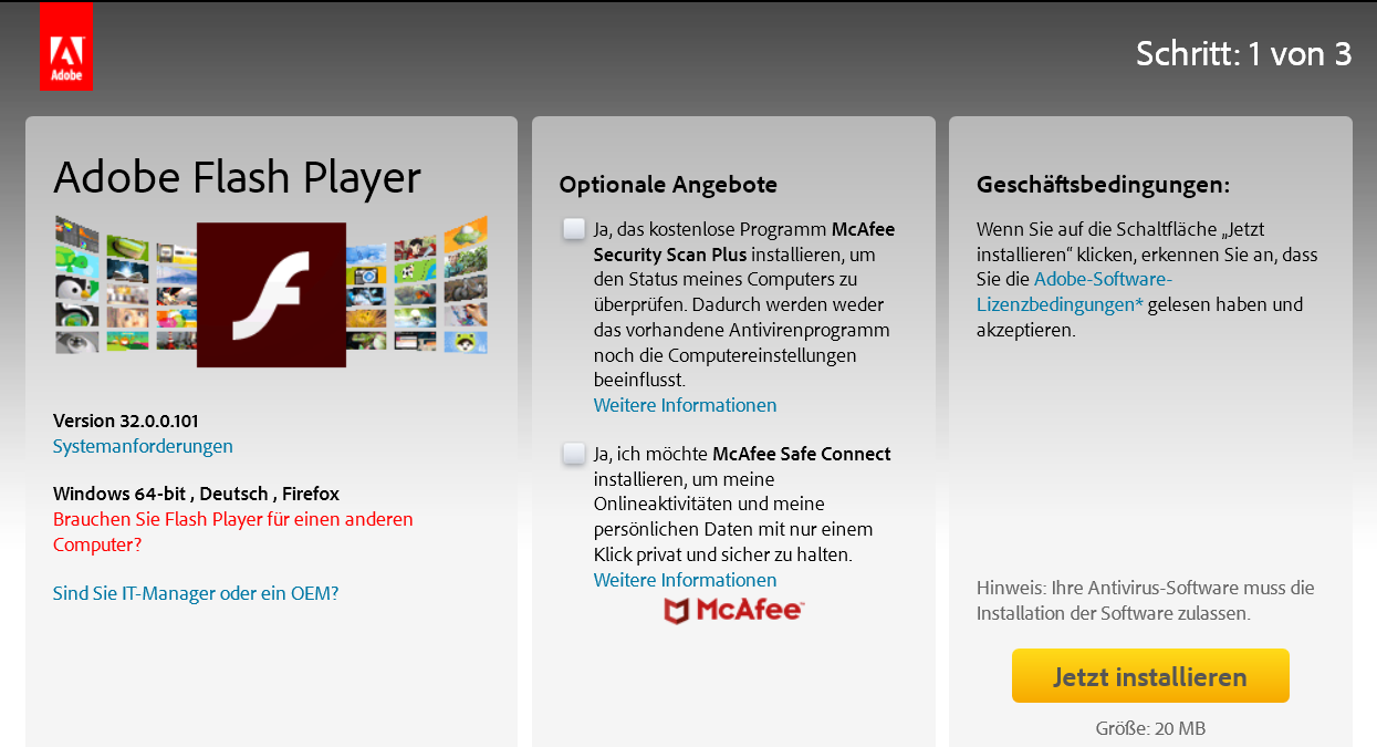 3200101 - Adobe Flash Player die neue Version 32.0.0.101 ist erschienen