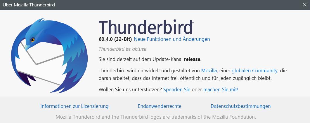 60.4.0 - Thunderbird Version 60.4.0 ist erschienen