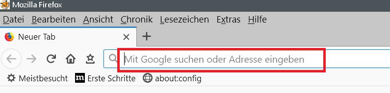 adressleiste - Adress- und Suchleiste den Text entfernen im Firefox
