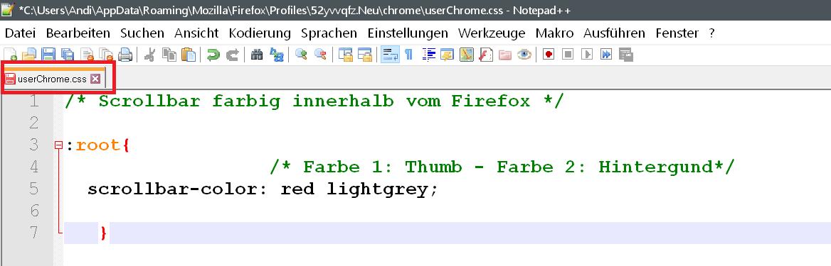 chrome - Scrollbar Farbe innerhalb vom Firefox ändern