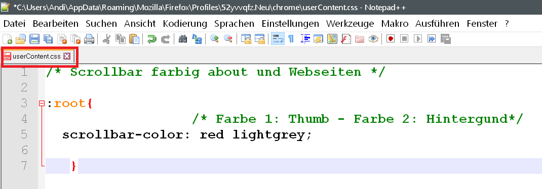 content - Scrollbar Farbe innerhalb vom Firefox ändern