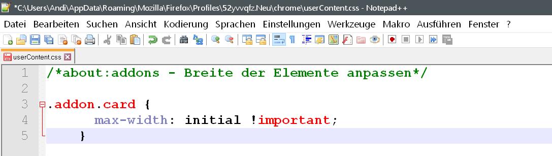 css code 1 - about:addons Erweiterungseinträge verbreitern im Firefox 64