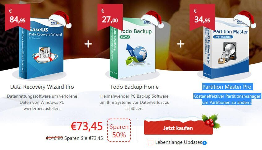 easeus - Weihnachtsaktion: EaseUS Todo Backup Home 10.0 kostenlos & aktuelle Version 11.5 für 11,79€