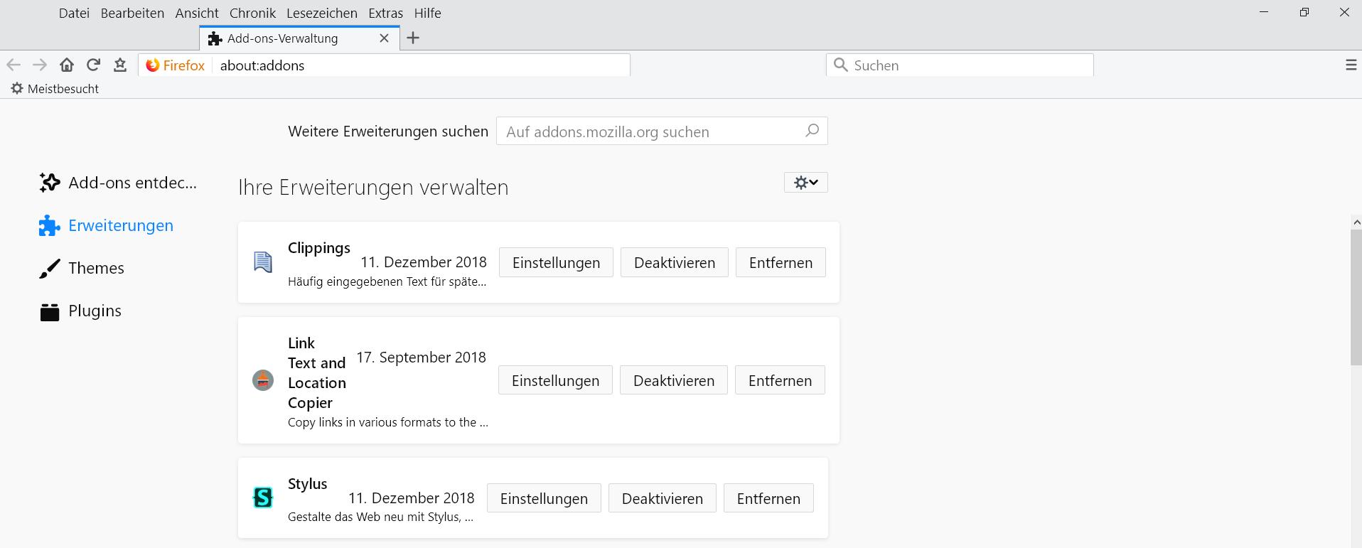 standard breite - about:addons Erweiterungseinträge verbreitern im Firefox 64
