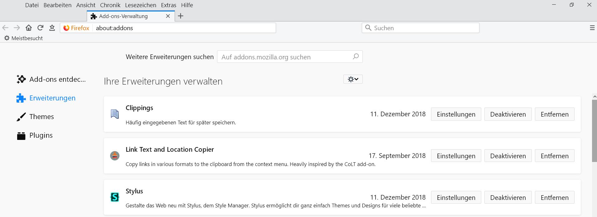 volle breite - about:addons Erweiterungseinträge verbreitern im Firefox 64