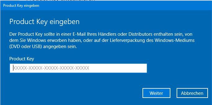 windowsd - Windows 10 Lizenzschlüssel eingeben