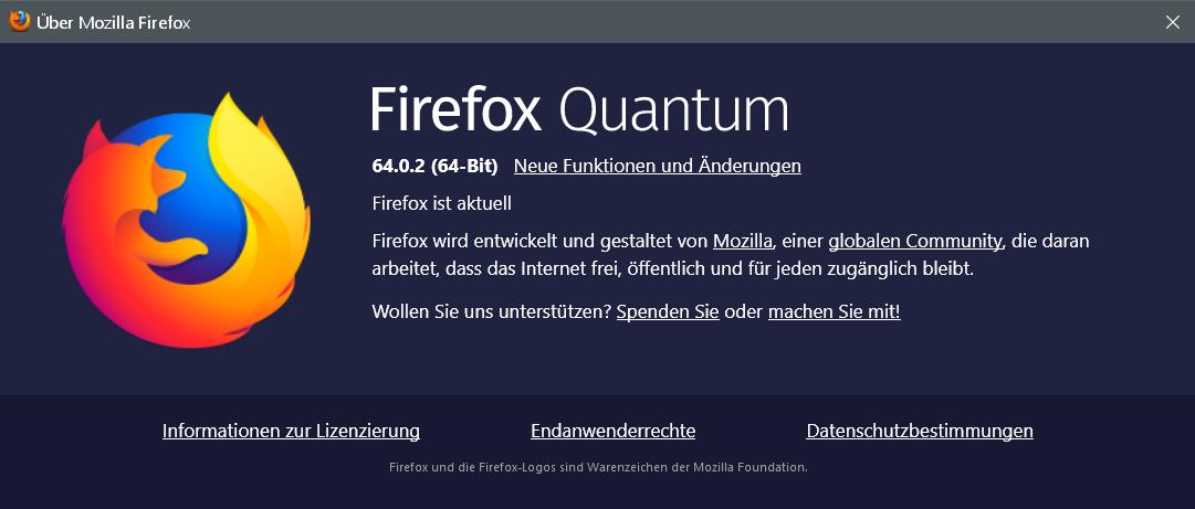 6402 - Firefox Version 64.0.2 ist erschienen und steht zum Download bereit