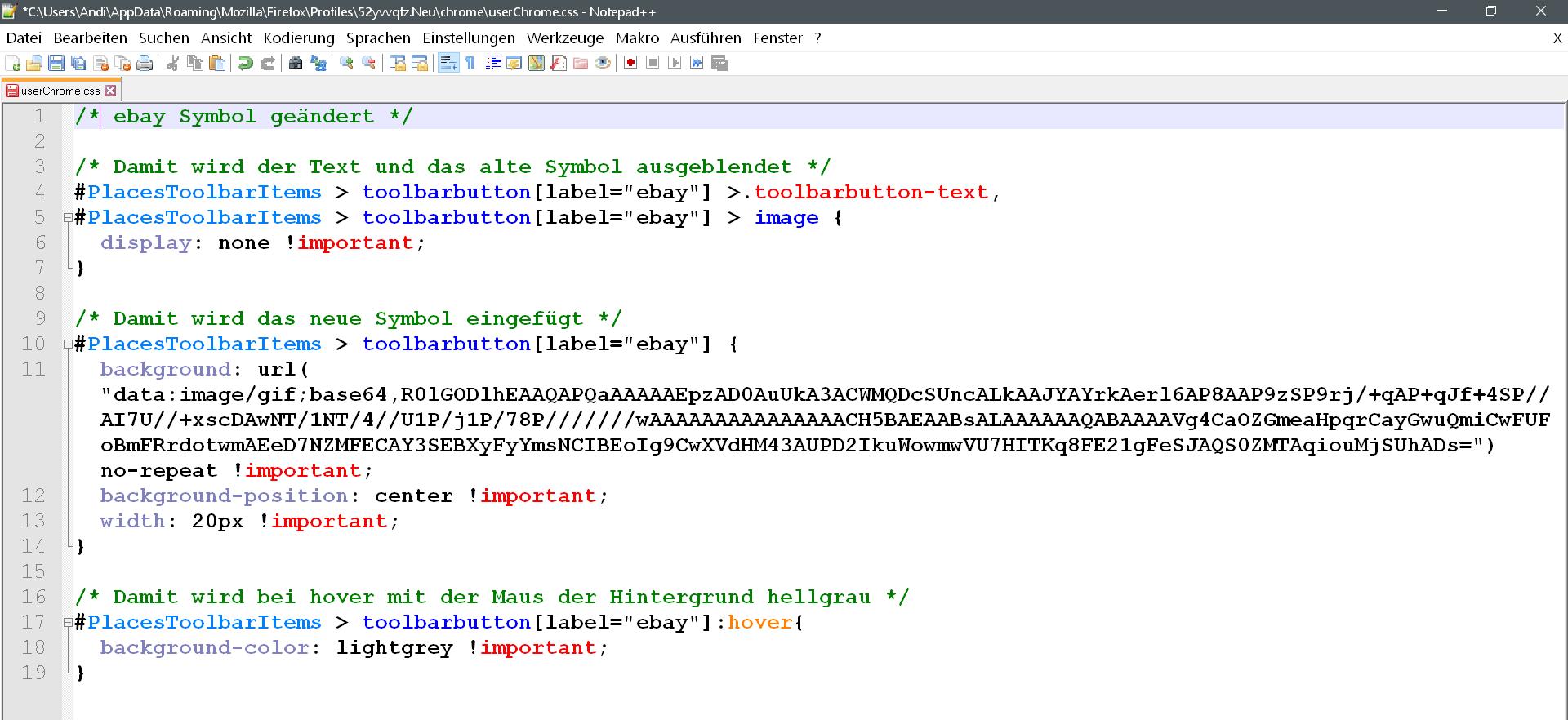 css komplett - Lesezeichensymbol ändern in der Lesezeichensymbolleiste im Firefox