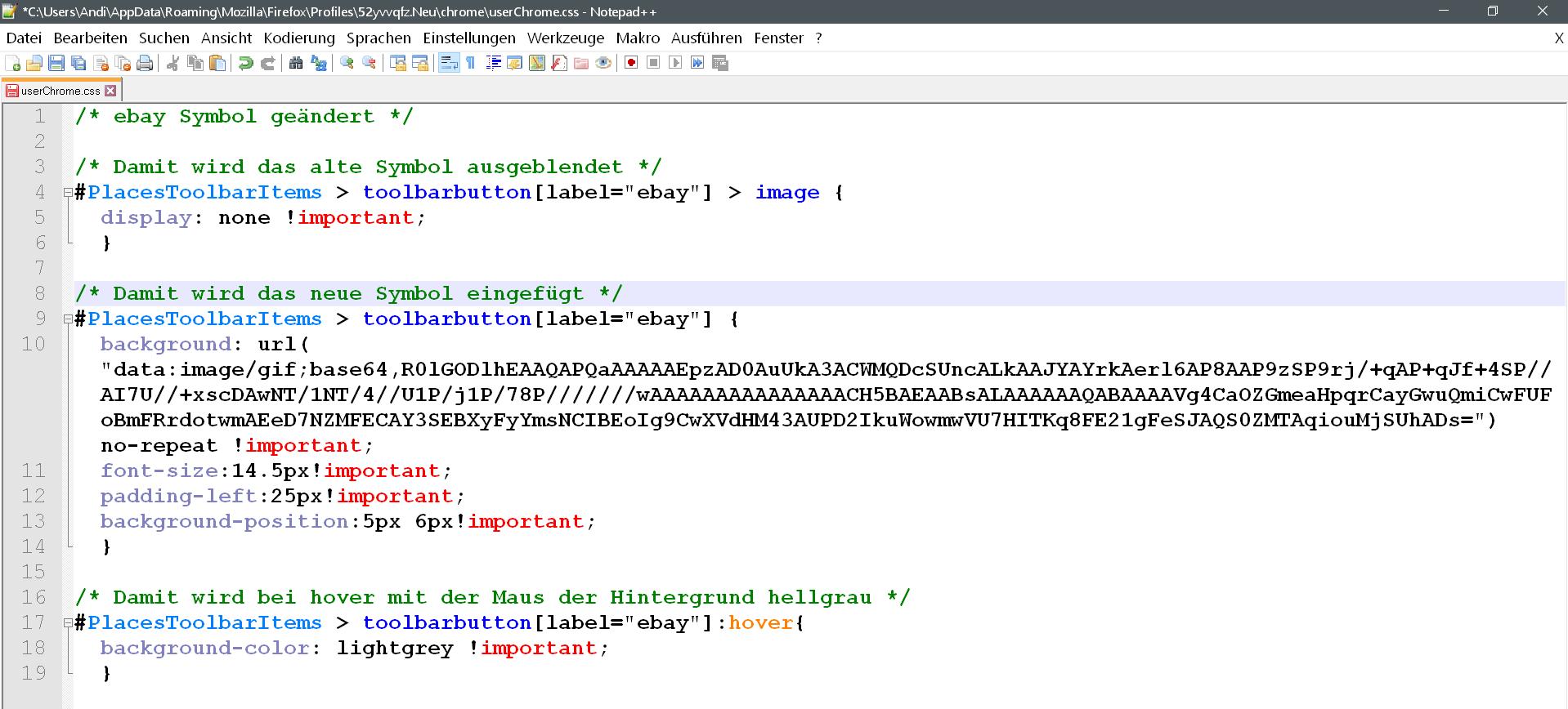 css mit text - Lesezeichensymbol ändern in der Lesezeichensymbolleiste im Firefox