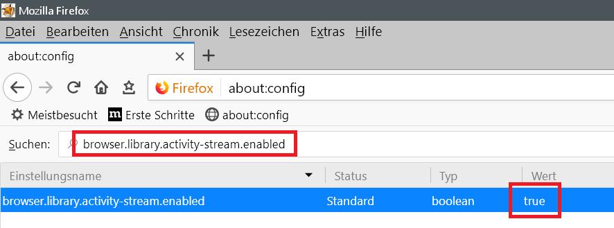 eintrag true - Neue wichtige Seiten - Eintrag im Firefox entfernen