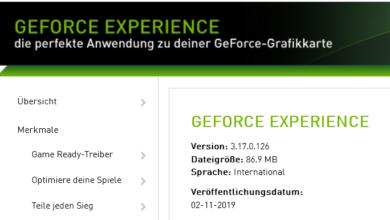3170 390x220 - Nvidia GeForce Experience 3.17.0.126 - neue Version erschienen