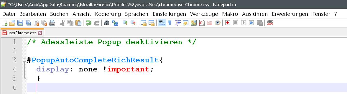 css 1 - Suchvorschläge Adressleiste deaktivieren ab Firefox Version 65