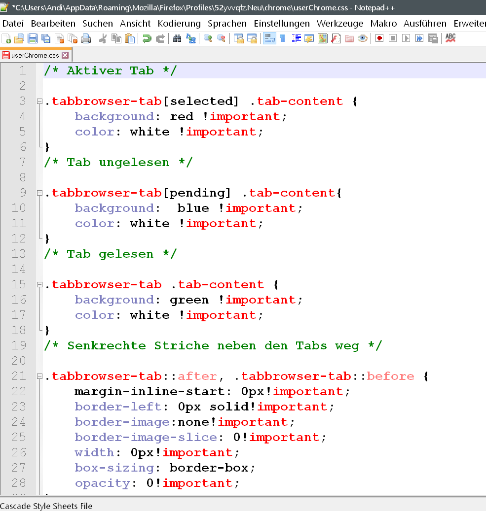 css code - Tab Farben ändern im Firefox Browser