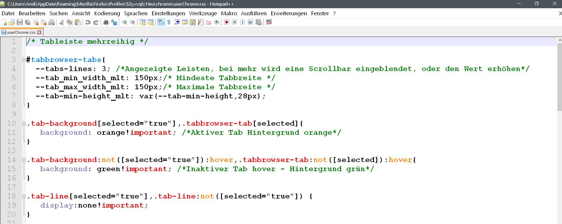 css - Mehrreihige Tableiste ab Firefox Version 65