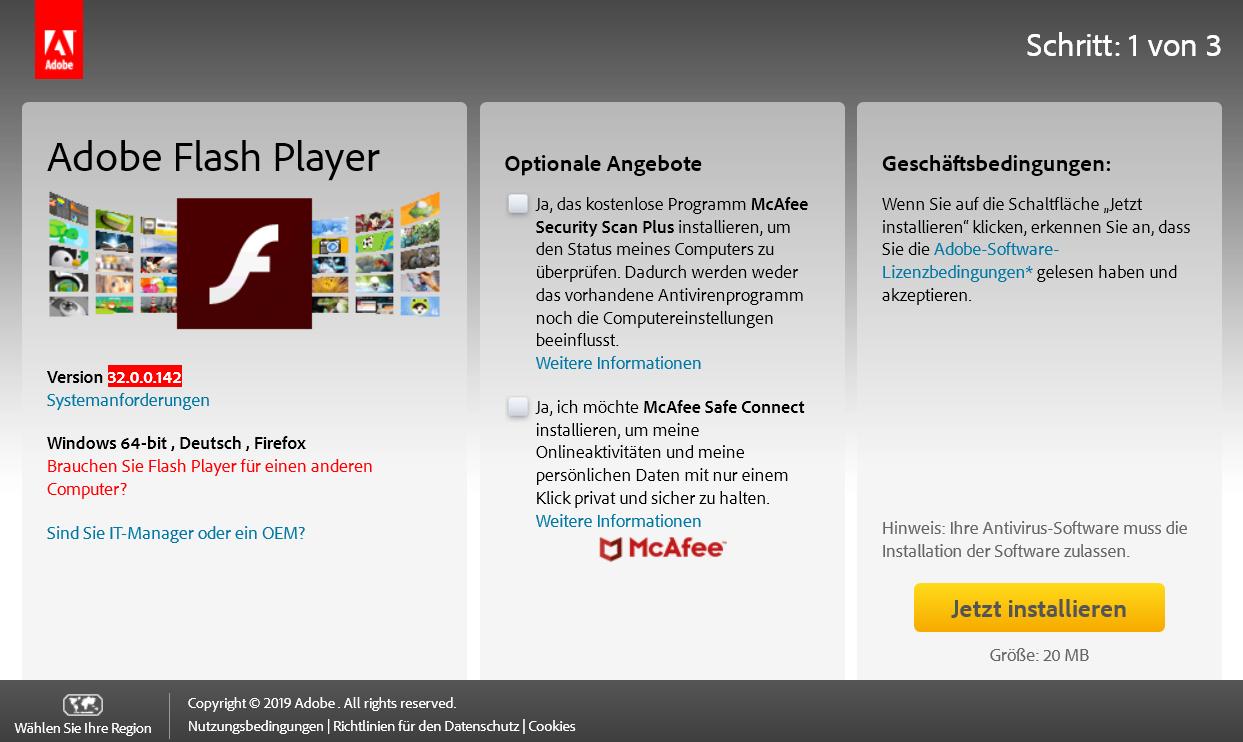 flashplayer - Adobe Flash Player die neue Version 32.0.0.142 ist erschienen