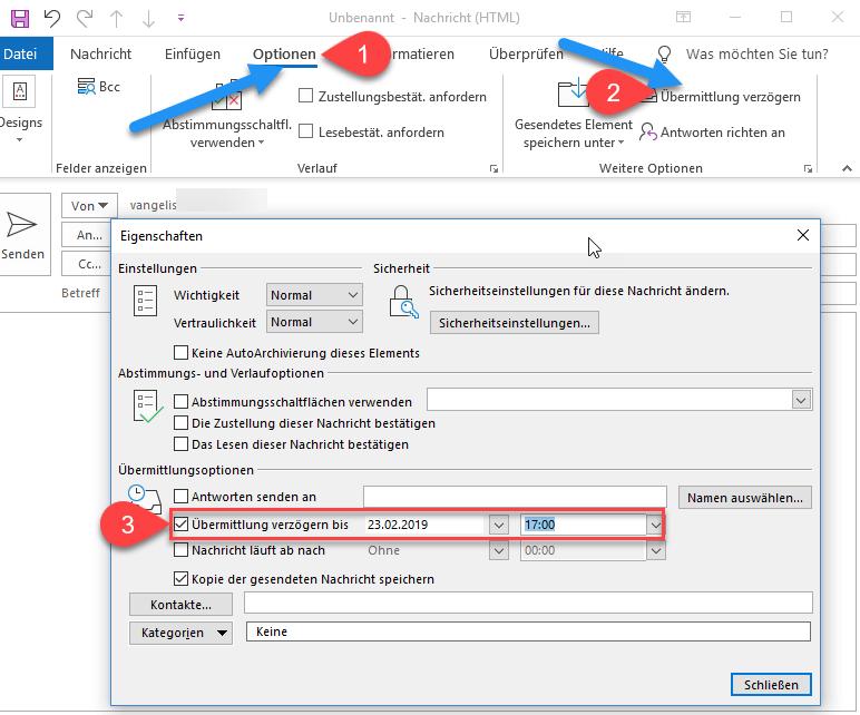 Outlook übermittlung verzögern