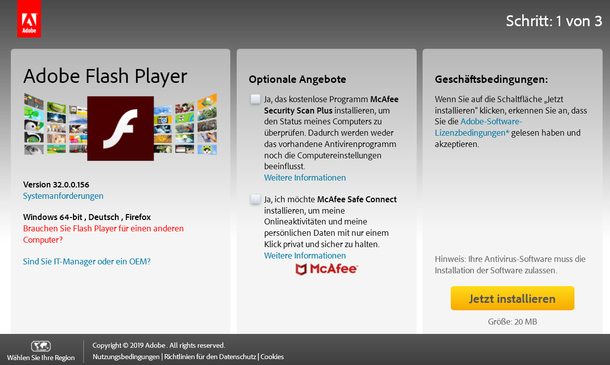 3200156 - Adobe Flash Player die neue Version 32.0.0.156 ist erschienen