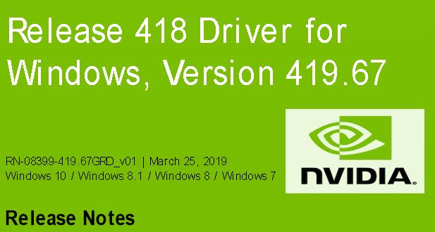 419.67 - Nvidia-GeForce-Treiber Version 419.67 für Windows erschienen