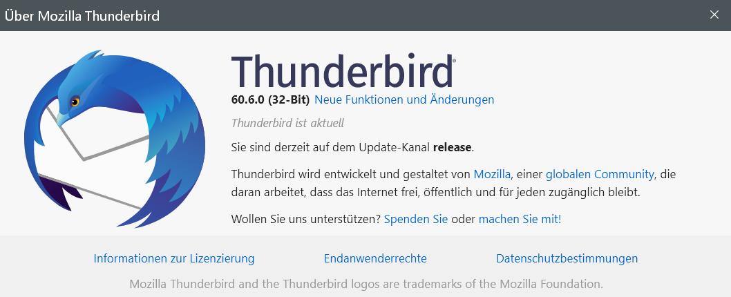 60.6.0 - Thunderbird Version 60.6.0 ist erschienen