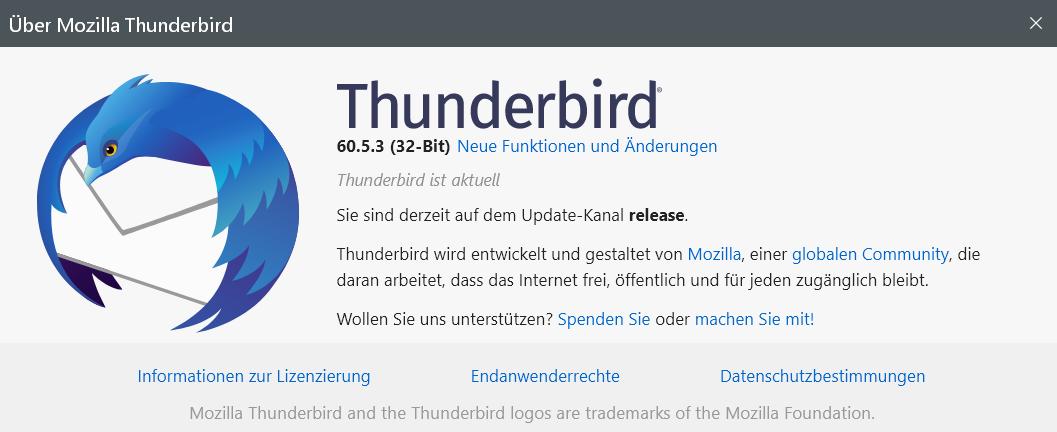6053 - Thunderbird Version 60.5.3 ist erschienen