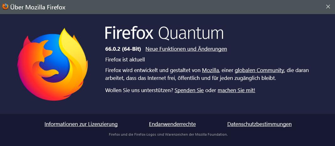 66.0.2 - Firefox Version 66.0.2 ist erschienen und steht zum Download bereit