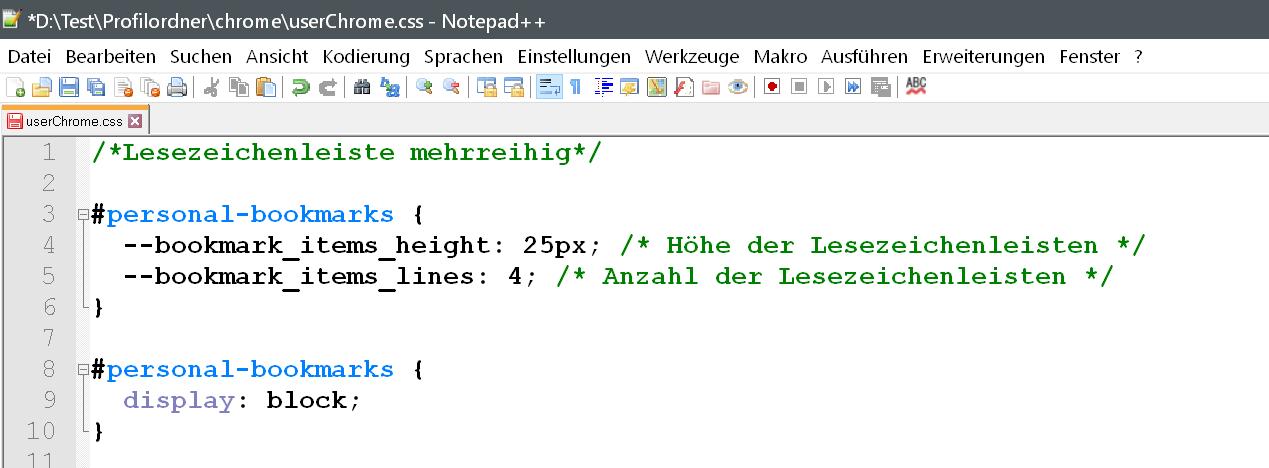 css 1 - Firefox 66 - Mehrzeilige Lesezeichen-Symbolleiste