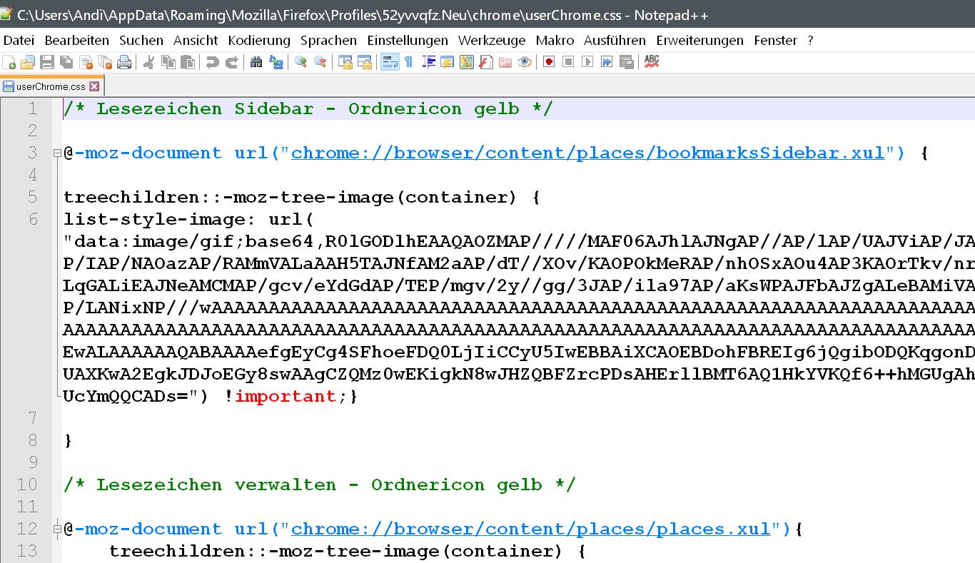 css 2 - Firefox 66 - Gelbes Icon für die Lesezeichenordner