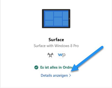 surface details anzeigen - Alten Microsoft Surface zum Verkauf vorbereiten - Tipps