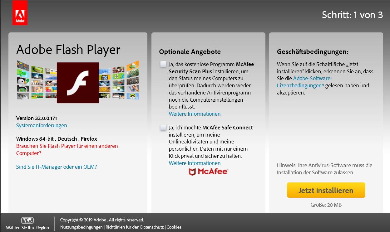 3200171 - Adobe Flash Player die neue Version 32.0.0.171 ist erschienen