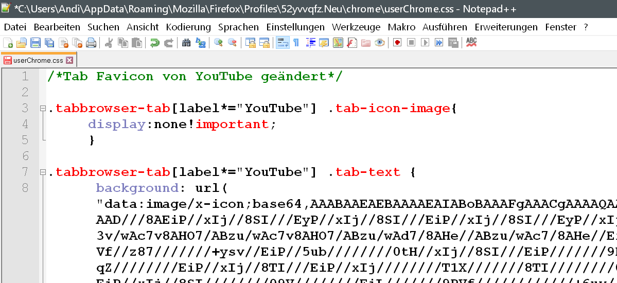 css code - Firefox 66 - Tab Favicon austauschen