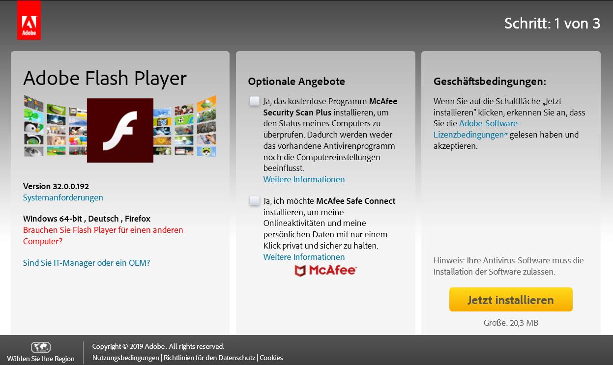 3200192 - Adobe Flash Player Version 32.0.0.192 ist erschienen