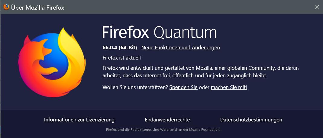 66.0.4 - Firefox Version 66.0.4 ist erschienen und steht zum Download bereit