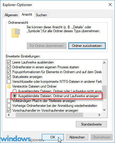 auf ausgeblendete dateien ordner und laufwerke anzeigen - Ordner verstecken unter Windows 10 - Dateien unsichtbar machen