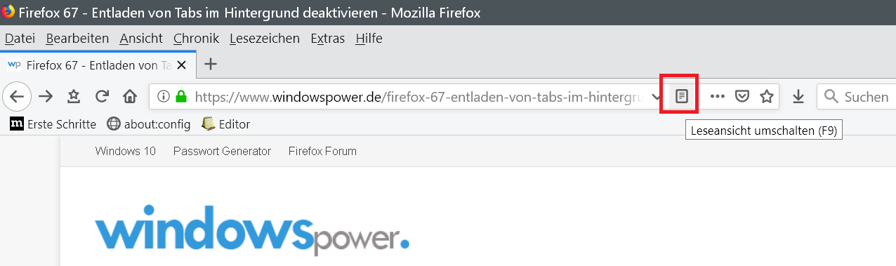 Lesemodus Firefox