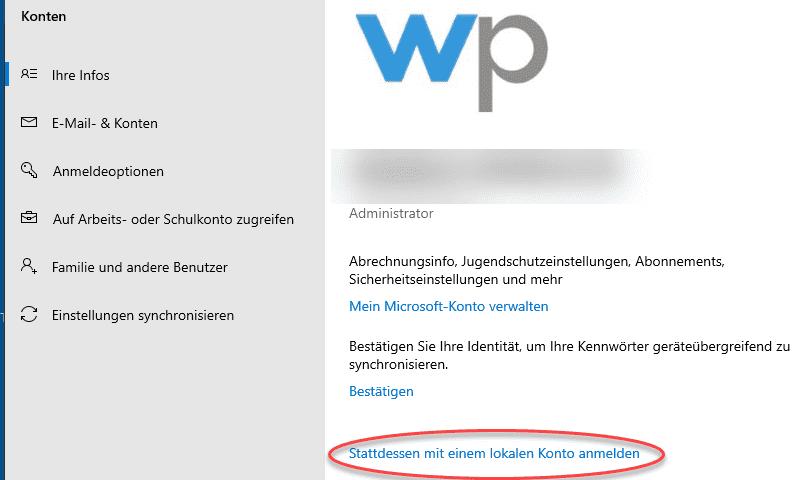 lokalen Konto Microsoft Konto