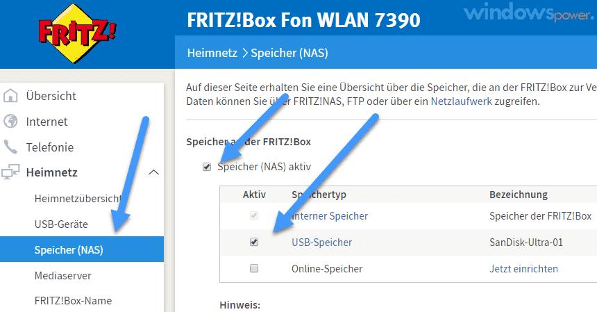 FritzBox NAS speicher freigeben