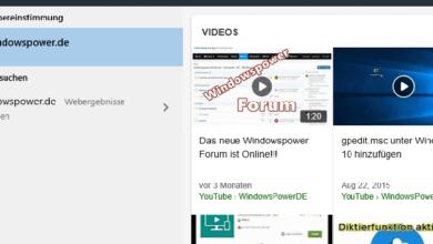 Bild von Websuche im Startmenü deaktivieren bei Windows 10