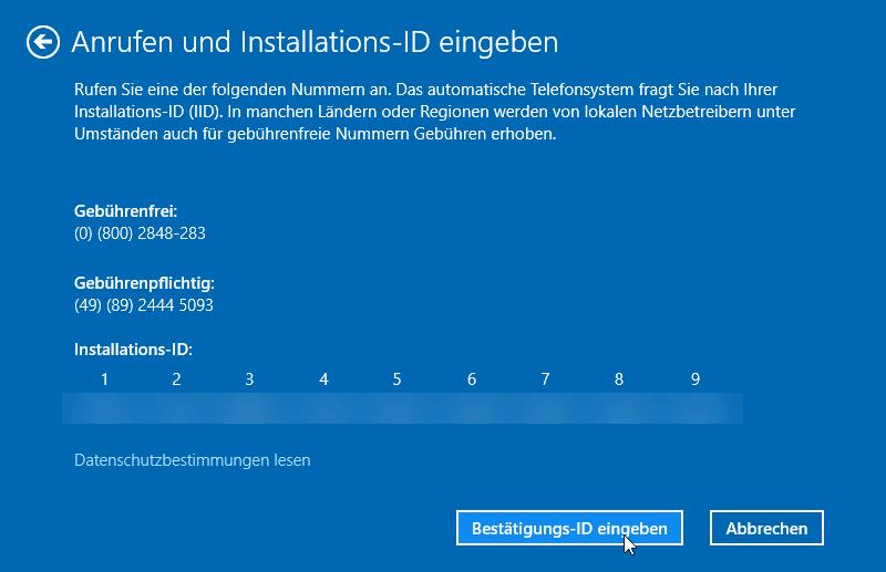 windows 10 installations id