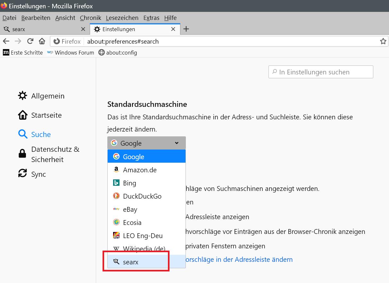 Firefox - Suchmaschine hinzufügen