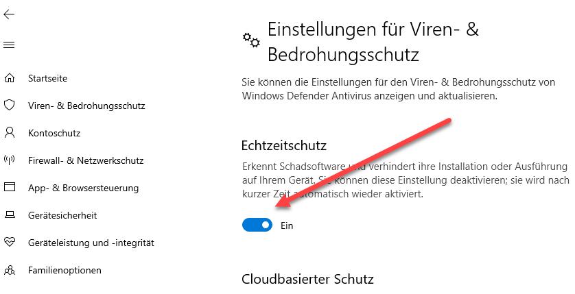 windows defender blockierung kurzzeitig deaktivieren