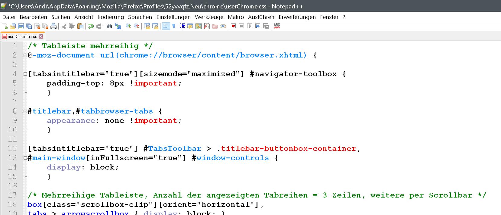 Firefox CSS Code
