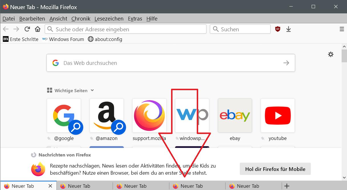 Tableiste unten im Firefox