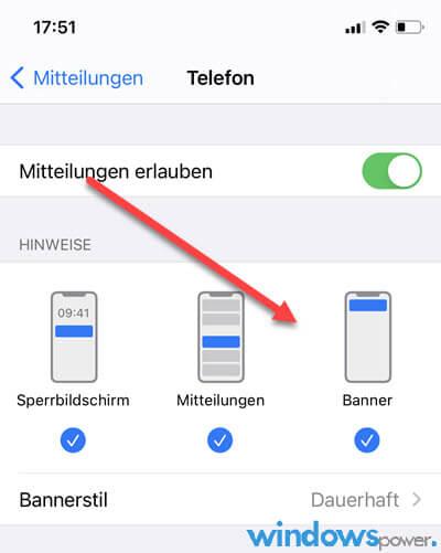 anruf banner iphone