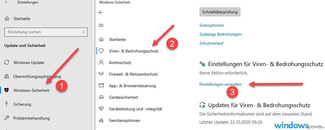 manipulationsschutz bei windows defender