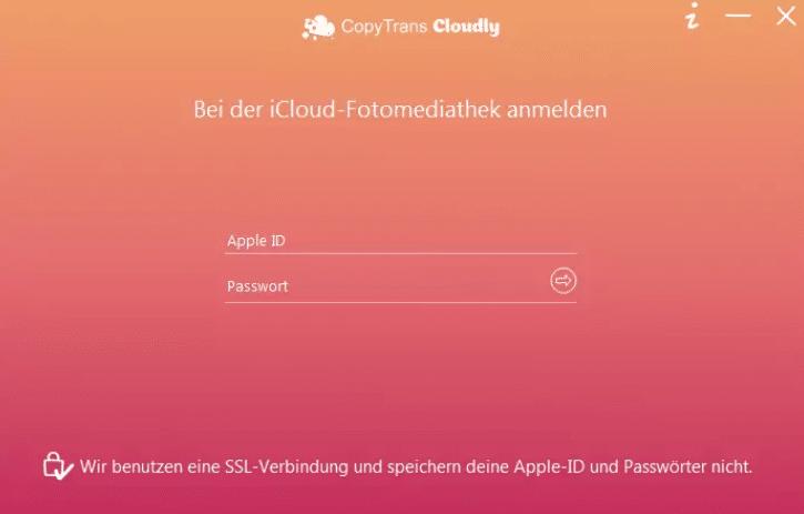 copytrans cloudly anmelden in icloud
