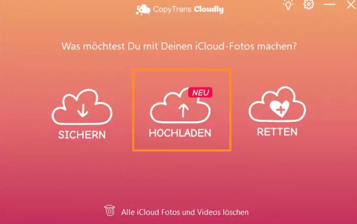 copytrans cloudly funktionsauswahl