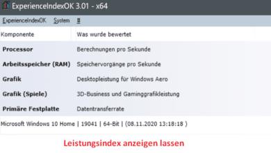 Bild von Windows 10 – Leistungsindex anzeigen