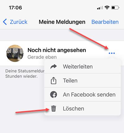 whatsapp statusmeldungen loeschen
