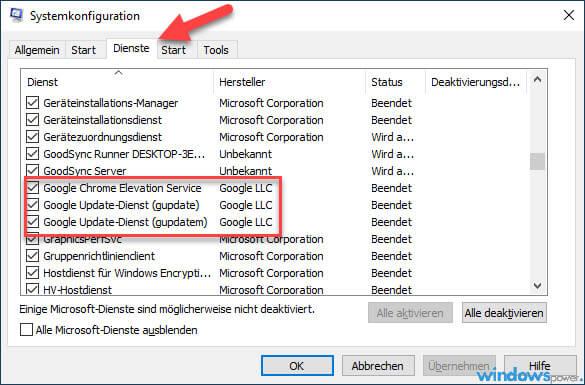 automatische updates bei google chrome deaktivieren